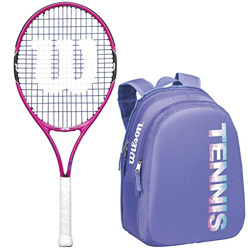Wilson Burn Pink Junior Tennis Racquet bundled with a Child's Tennis Bag