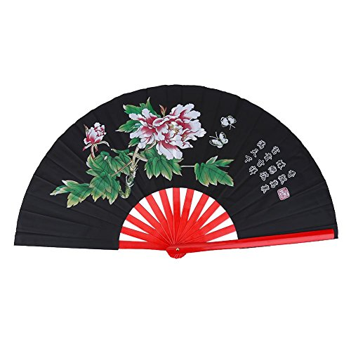 Traditional Chinese Fan, Kung Fu Fighting Tai Chi Fan Bamboo Fan (Black) (Kung Fu Metal Fan)