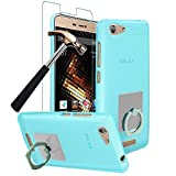 BLU Energy X 2 Case with Phone Ring Stand Holder + Screen Protector, Gzerma Easy Grip Design Durable Flex Soft Shock-Absorption Bumper Case Cover with 360 Rotation Kickstand and Bubble Free Protective Film for BLU Energy X 2 (Blue)