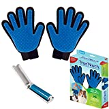Allstar Innovations True Touch Five Finger Deshedding Glove- Premium Version, Great Cats & Dogs- Includes 2 Authentic True Touch Gloves (1 Left Hand, 1 Right Hand), 1 Lint Roller- As Seen on TV