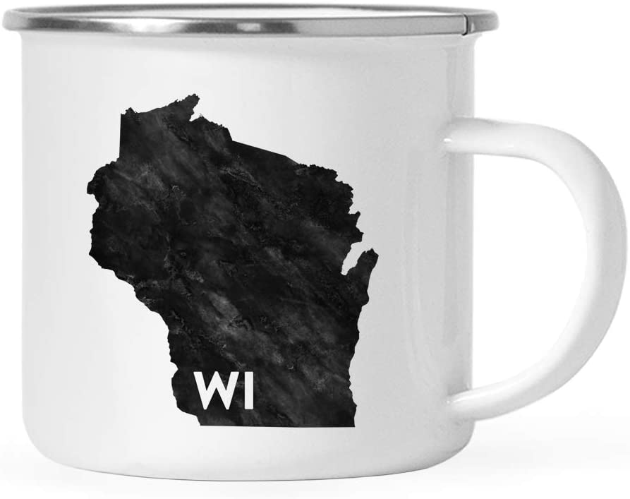 Andaz Press 11oz. US State Stainless Steel Campfire Coffee Mug Gift, Modern Black Grunge Abbreviation, Wisconsin, 1-Pack, Metal Enamel Camping Camp Cup for Him Her Christmas Hostess Long Distance