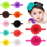Baby Headband,Fascigirl 12 Pcs Girl Hair Band Baby Flower Headwrap Boutique Bow Hairband Elastic Head Wrap for Newborn Girls Teens Toddlers