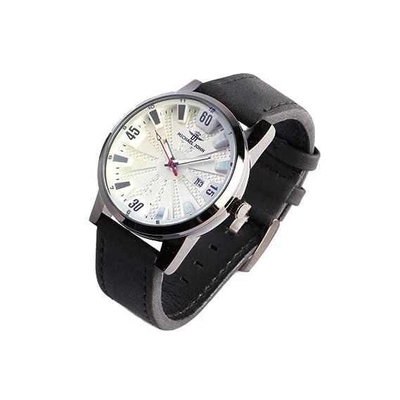 Reloj Hombre Negra y Blanca Pulsera Piel con Fecha myxtra - Hombre: Amazon.es: Relojes