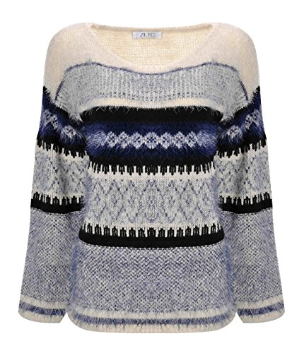 ZLYC Women Fluffy Aztec Space Dye Knitted Pullover Jumper Geometric Casual Sweater - Furry Knit Hem