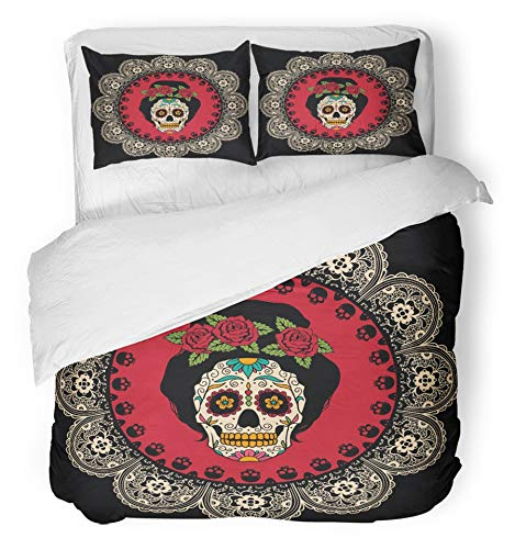 Emvency 3 Piece Duvet Cover Set Brushed Microfiber Fabric Breathable Yellow Day with Mexican Skull Girl Dead Tattoo Catrina Sugar Lace Comic Woman Bedding Set with 2 Pillow Covers King Size