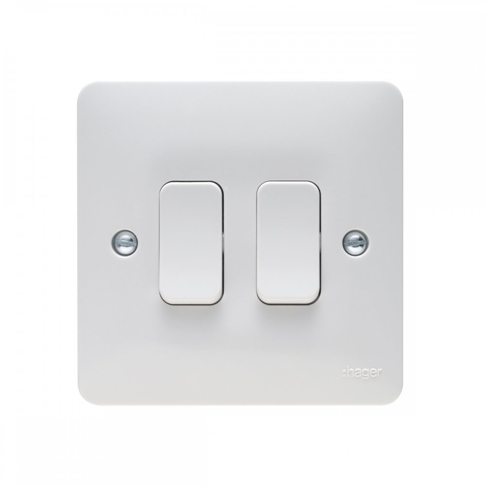 Hager 13a 2 Gang Double Pole Dual Earth Switched Socket Sollysta Way Switch 10ax Wall Range
