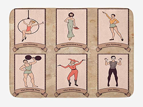 TAQATS Circus Bath Mat, Vintage Circus Characters Acrobat Bearded Lady Gymnast Strong Man Harlequin Mime, Plush Bathroom Decor Mat with Non Slip Backing, 23.6 W X 15.7 W Inches, Pink Beige]()