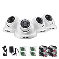 ZOSI 4 Pack HD-TVI 1.0MP 1280TVL(720P) Weatherproof Outdoor/Indoor Day Night Dome Security Cameras System,Night Vision Up to 65FT(20M)