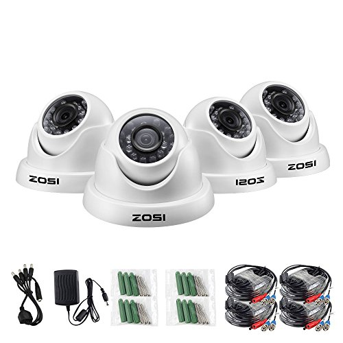 Cheap ZOSI 4 Pack HD-TVI 1.0MP 1280TVL(720P) Weatherproof Outdoor/Indoor Day Night Dome Security Cameras System,Night Vision Up to 65FT(20M)