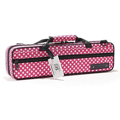(Flute Case - Beaumont C-Foot Flute Cover - Lightweight Canvas - Pink Polka Dot Design )