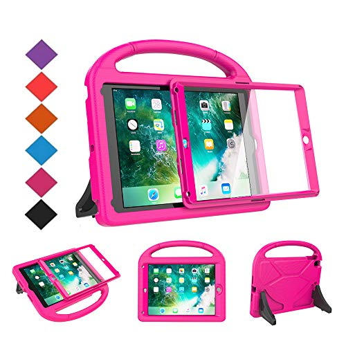 - BMOUO Kids Case for New iPad 9.7 2018/2017 - Built-in Screen Protector Shockproof Light weight Handle Convertible Stand Case Cover for Apple iPad 9.7 Inch 2018 (6th Generation) / 2017 (5th Gen) - Rose