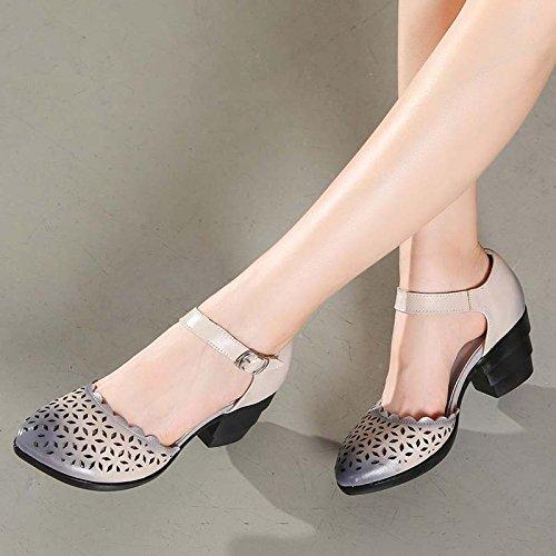 De Suave Retro Verano Mujer Sandalias Zapatos De Fondo Ahuecado De Baile Rough Tacones GTVERNH Zapatos gules De Zapatos Mujer De Cueva Zapatos aEPn6xq
