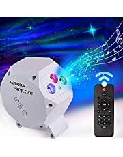 LUUMEO® Night Light Galaxy Star Projector 7 in 1 Remote Control LED Nebula Cloud Living Bedroom Decorations Home Theater Lightning Mood Ambient Lamps Baby Kids Game Décor Gift White/Grey