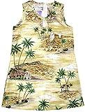 RJC Girl's Polynesian Island Short Tank Hawaiian Dress, Yellow, 7