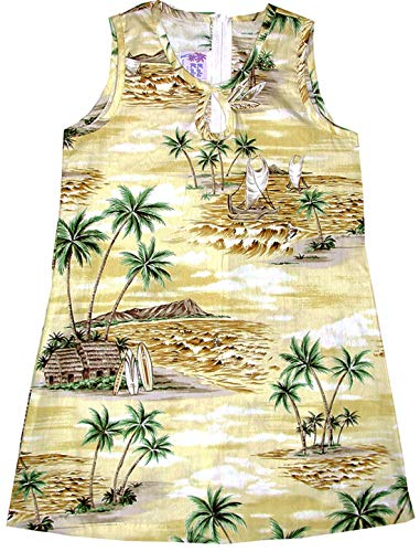 RJC Girl's Polynesian Island Short Tank Hawaiian Dress, Yellow, 7 by RJC