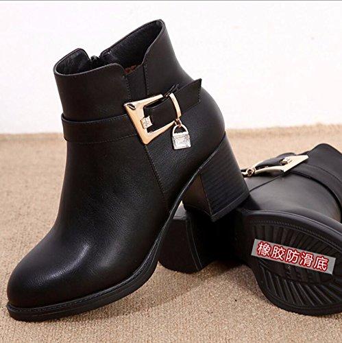 Toison Mûr Avec KHSKX Bottes Rough Bottes Chaussures Et Hiver Chaussures Automne Hiver Femmes Coton 41 Noir Femmes 4Cm La D'Âge Âgées Chaussures Mère OwFAqfOW