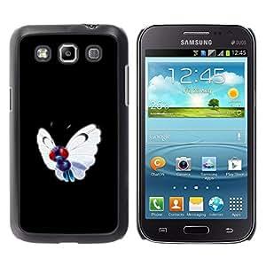 KLONGSHOP // Cubierta de piel con cierre a presión Shell trasero duro de goma Protección Caso - Meter Butterfly Monster - Samsung Galaxy Win I8550 //