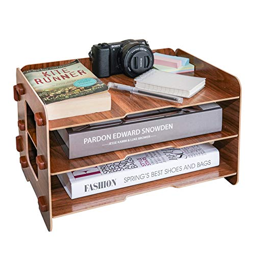 3 Layer Wood File Tray / 3 Tier Desk Organizer/Desktop Letter Tray Organizer/Files and Folder Tray/Paper Stacking Trays/Filing Organizer/Letter and Paper Organizer (Black Walnut Color) by HOOMELE (Image #7)