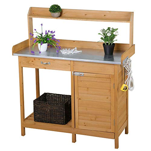 Cedar Outdoor Cabinet - Outdoor Wooden Garden Work Bench Station, Galvanized Metal Tabletop with Drawer, Cabinet and Open Storage Shelf, Solid Cedar Wood Construction Potting Benches for Outside