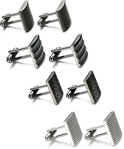 FIBO STEEL 4 Pairs Wedding Business Classic Cufflinks for Men Unique Cufflinks Set