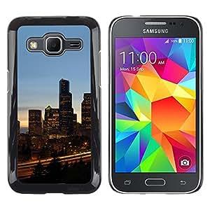 KLONGSHOP // Cubierta de piel con cierre a presión Shell trasero duro de goma Protección Caso - Chicago City - Samsung Galaxy Core Prime //