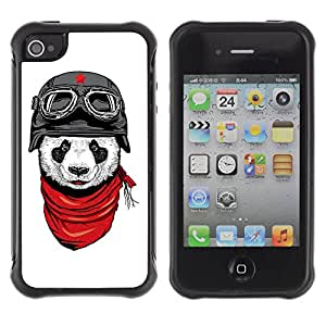ZeTech Rugged Armor Protection Case Cover - Cool Panda Soldier Illustration - Apple Iphone 4 / 4S
