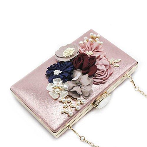 } Women Girls Hunzed Crossbody Pink { Flower Clutches Evening Handbag Bag } Pink Wedding Clutch Bag } { Purse Handbag Women F77dPwqn
