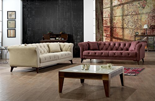 Vegas Sofa Collection (Mare Collection Vega Mid-Century Modern Tufted Chesterfield 2 Seater Loveseat Sofa Flamenco)