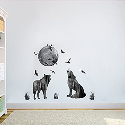 DecalMile Wolf Moon Birds Wall Decals Removable Animal Wall Stickers Murals for Living Room Bedroom