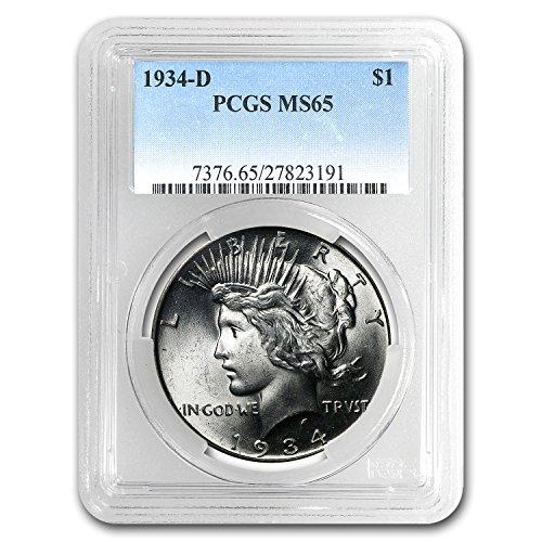 1934 D Peace Dollar MS-65 PCGS $1 MS-65 - Five Dollar 1934