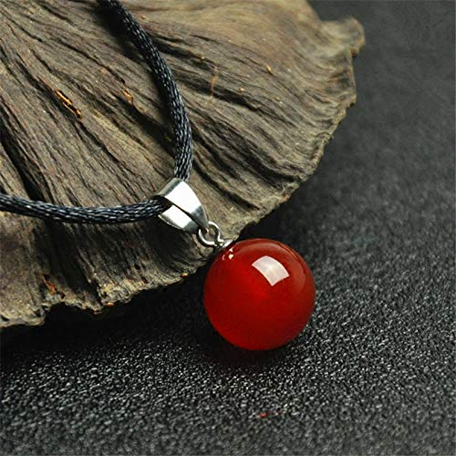 - 16mm Round Beads Natural Red Agate Necklace Pendants Crystal Gem Stones Jewelry Energy Lucky Gift for Women Men Carnelian