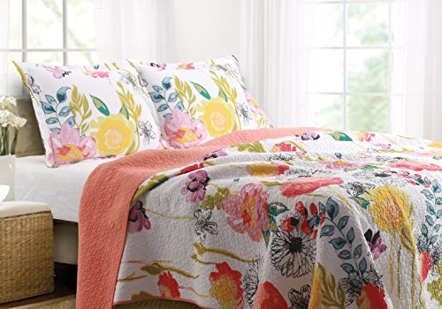 Greenland Home Watercolor Dream Quilt Set, Full/Queen, White