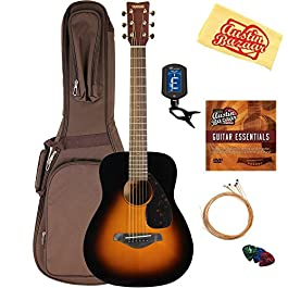 Yamaha JR2 Junior-Size 33-Inch Acoustic Guitar – Tobacco Sunburst Bundle with Gig Bag, Tuner, Strings, String Winder…
