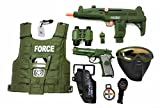 Military Friction Combat Force 10 Piece Boys Toys Playset, Boys Action Playset w/ Friction Gun , Watch , Mask , Army Vest , Tags & Accessories , Kids Military Combat Play Set