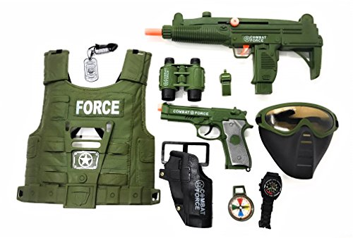 (Military Friction Combat Force 10 Piece Boys Toys Playset, Boys Action Playset w/ Friction Gun , Watch , Mask , Army Vest , Tags & Accessories , Kids Military Combat Play Set)