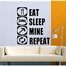 USA Decals4You   Popular Game Wall Stickers Eat Sleep Mine Repeat Decals Vinyl Decor MK0374