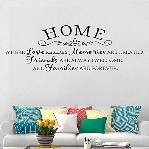lupaue Lettering Words Wall Mural DIY Removable Sticker Decoration Home Where Love Resides Memories are Created Friends are Always Welcome for Living Room Bedroom Home Decor
