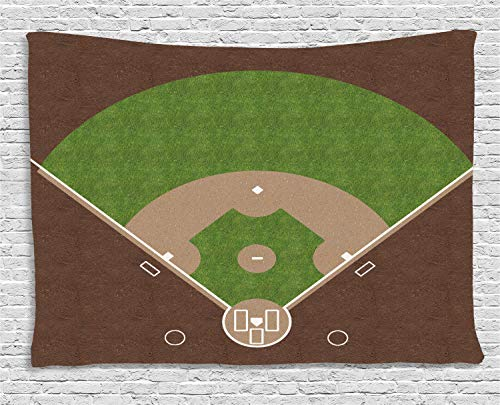 Lunarable Nursery Tapestry, American Baseball Field with White Markings Painted on Grass Print, Wall Hanging for Bedroom Living Room Dorm, 60 W X 40 L Inches, Lime Green Chocolate Tan ()