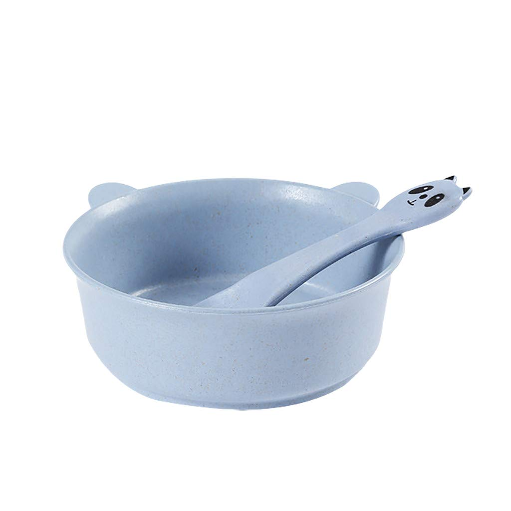 Fan-Ling Cute Cartoon Pandas Dinner Rice Serving Bowl Soup Food Spoon, Wheat-Straw tableware,Fruit Snack Candy Salad Plate Bowl Dish Basket,no smell,Smooth surface, easy to clean (blue)