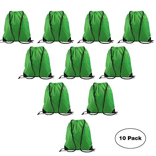 LIHI Bag Promotional Drawstring Backpack Basic Gym Sack Reusable Sport Cinch Polyester Bag For Outside Giveaways and Storage Use 10PCS Bright (Basic Bag)