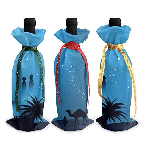 Christmas Nativity Celestial Meniscus Camel 3pcs Christmas Xmas Red Wine Glass Bottle Wraps Cover Bag Decorations Ornaments Theme Tasting Charms Accessories Gifts Set