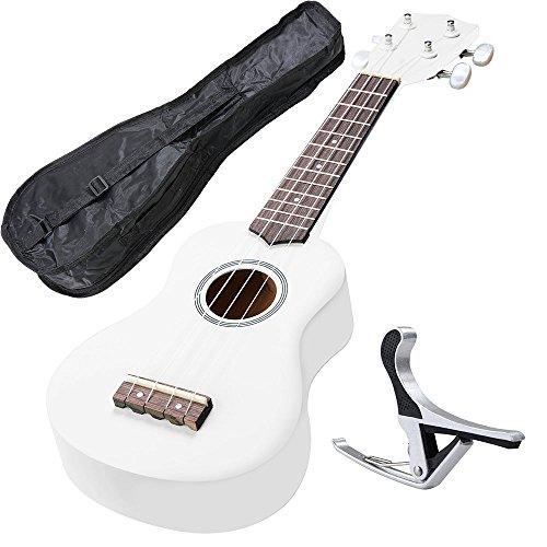 AW 21 Inch White Soprano Ukulele Basswood w/Bag Aluminum Capo For Adult Kids Study Musical Instrument -