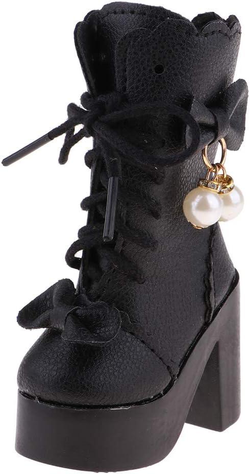 P Prettyia Fashion Zapatillas de Tacones Altos con Cordones Accesorios DIY para Muñecas Niñas Escala 1/3 - Negro