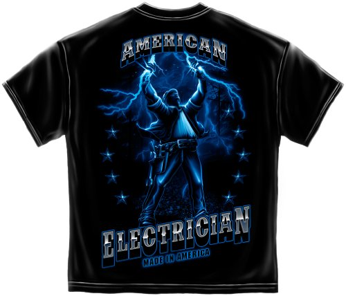 American Electrician T-shirt Flaming Electricity