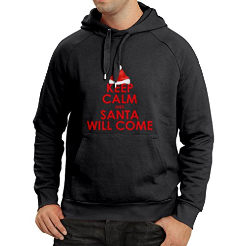lepni.me Hoodie Keep Calm and Santa Will Come, Holiday Clothes and Christmas Vacation Outfits (XX-Large Black Multi Color)]()