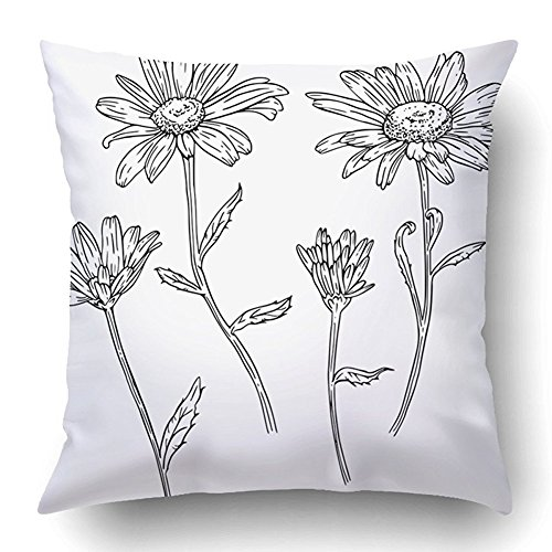 SPXUBZ Set Of Drawn With Ink Daisies Flowers Page For Coloring Cotton Polyesterwith Hidden Zipper Decorative Home Decor Square Indoor/Outdoor Throw Pillowcase Size: 20X20 Inch(Two Sides) -