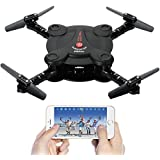 Leoie RC Quadcopter Drone with FPV Camera Live Video Foldable Aerofoils, Smart Phone and App Control UAV Predator, RTF Helicopter with 4 Channels, 6-Axis Gyro, Gravity Sensor with 2pcs Batteries Black