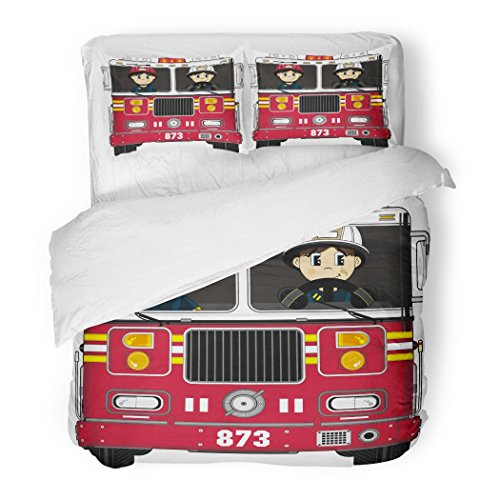 SanChic Duvet Cover Set Badge Cute Cartoon Fireman and Fire Engine Emergency Decorative Bedding Set with Pillow Sham Twin Size