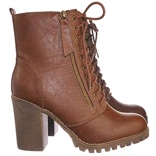 SODA Malia Vegan Round Toe Stacked Heel Ankle Booties (Tan, 6.5 M US) Ankle Boots Side Zipper