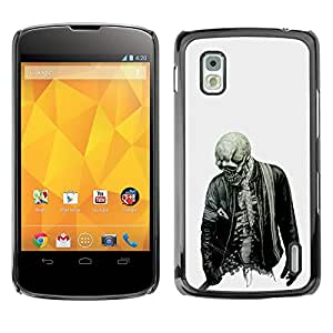 Shell-Star Arte & diseño plástico duro Fundas Cover Cubre Hard Case Cover para LG Google NEXUS 4 / Mako / E960 ( Biker Cool Skull Skeleton Zombie Rock )